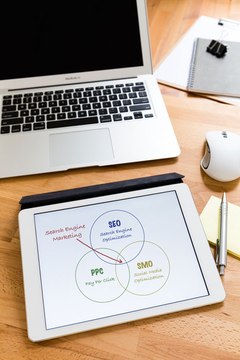 tablet with web design and seo metrics